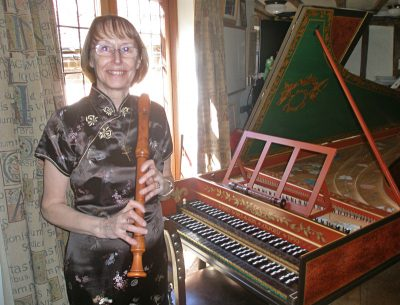 Marian Robertson with recorder and harpshichord